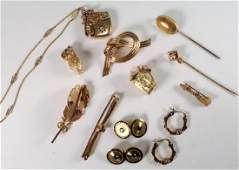 Lot of 10 14 kt Gold Jewelry Vict Locket Cufflinks