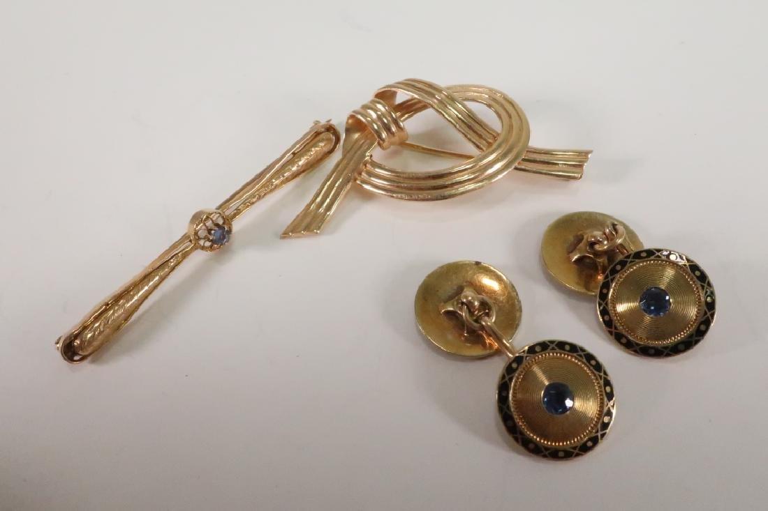 Lot of 10 14 kt Gold Jewelry Vict Locket Cufflinks - 6
