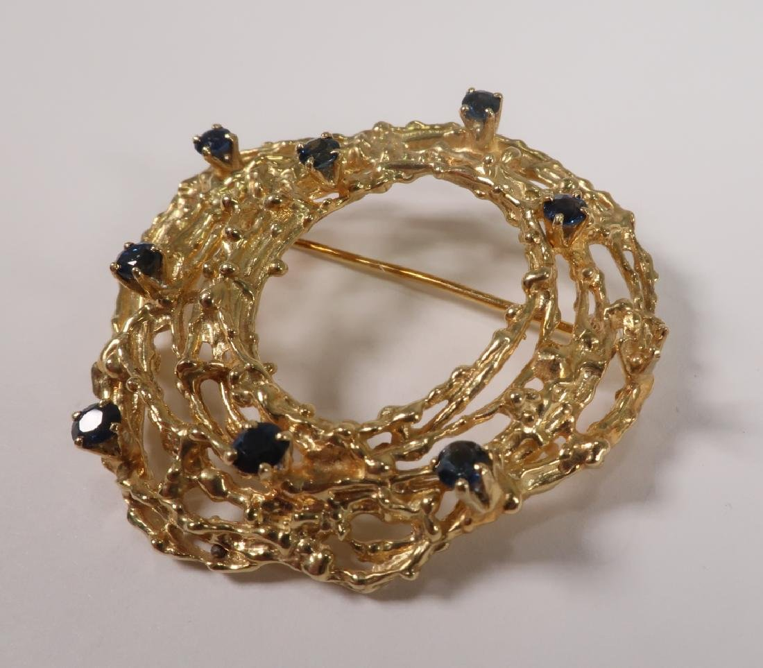18 K Gold Brooch with Nine Sapphires 17.7 Grams - 3