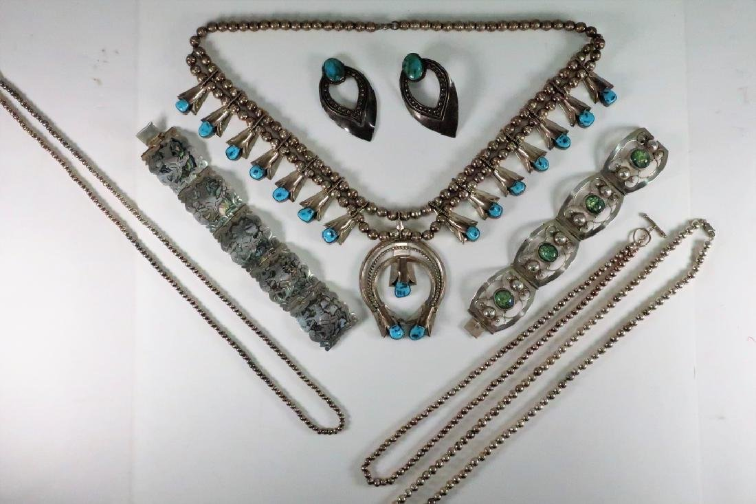 Lot of 7 Sterling Squash Blossom Necklace & others