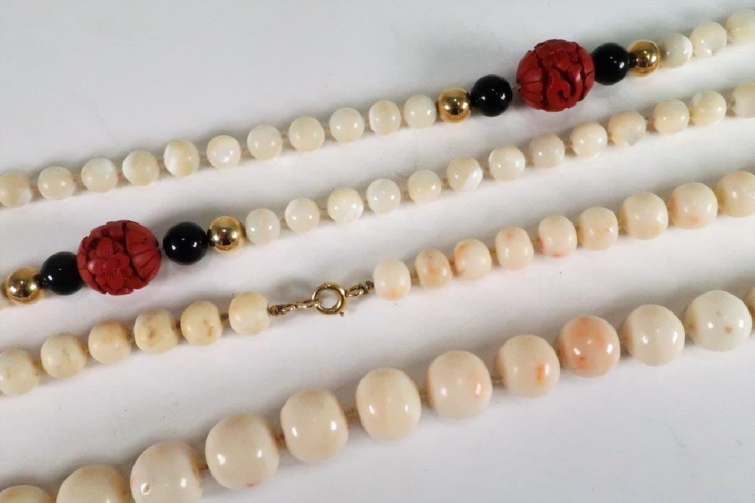 Lot of 2 Coral Bead Necklace 14 K Gold Clasp & MOP