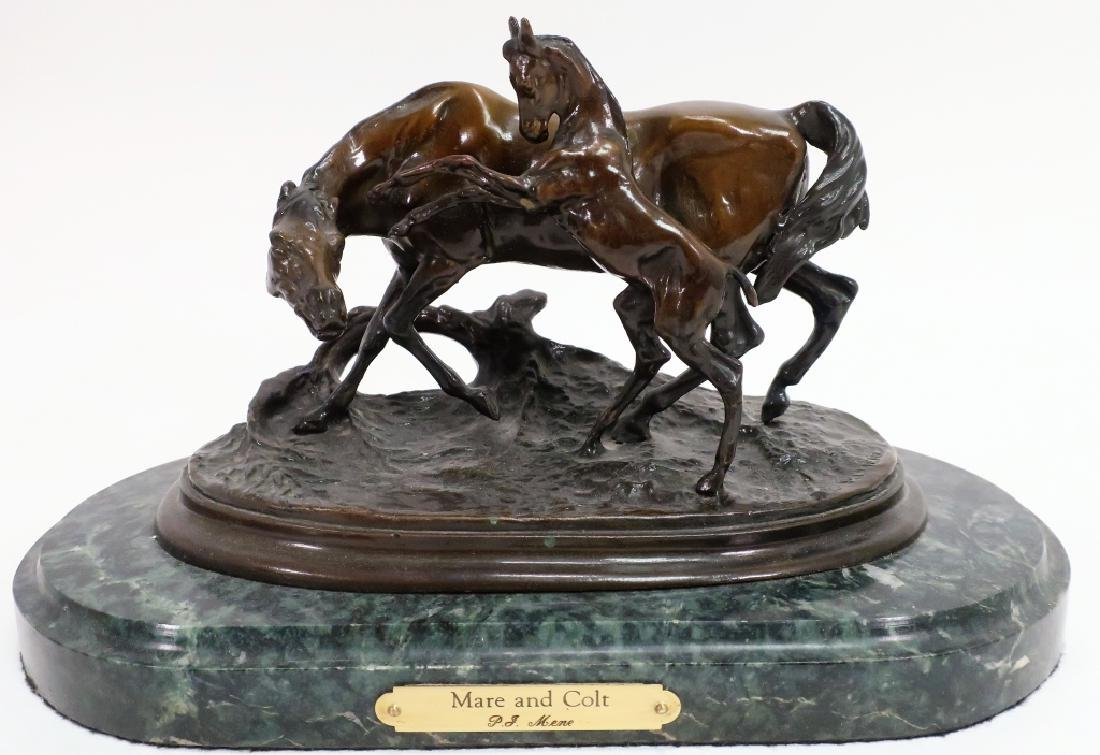 "After J. P. Mene, 20th C., ""Mare & Colt"" Bronze"