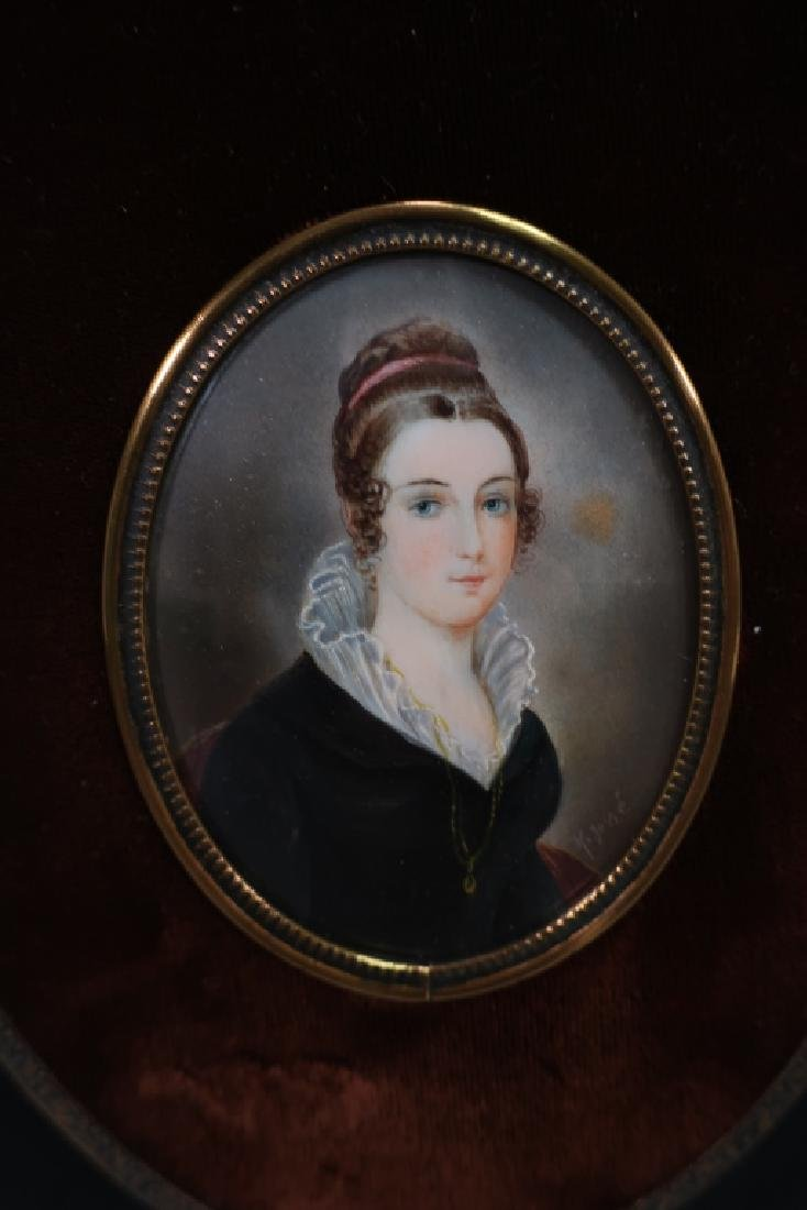 French Portrait Miniature signed F. Josse, 19th C.