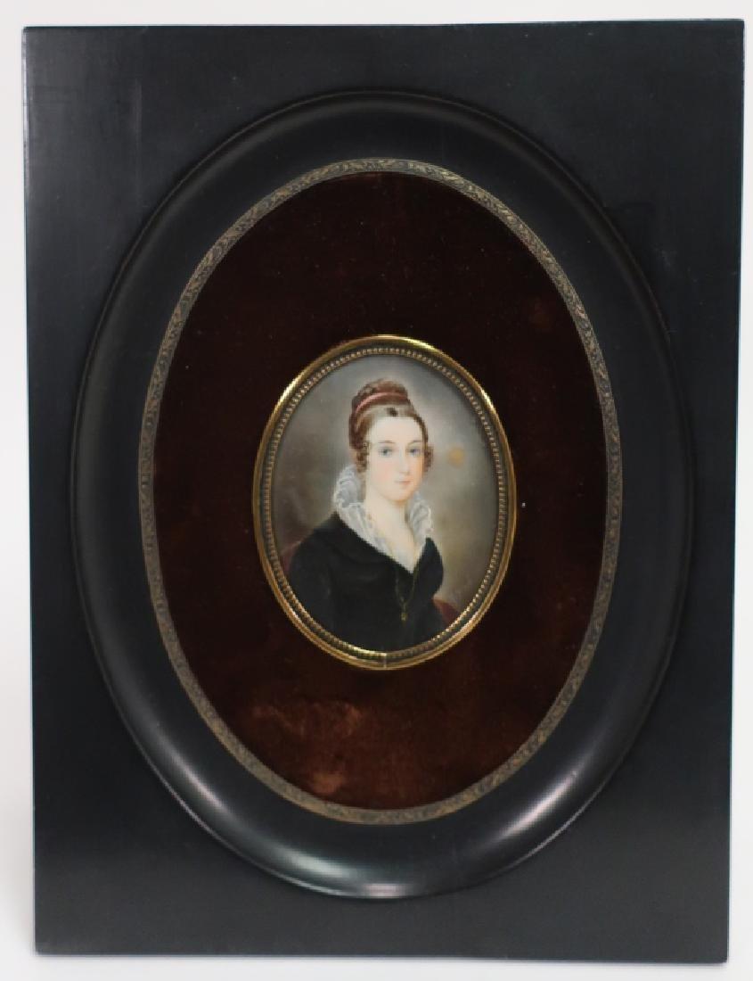 French Portrait Miniature signed F. Josse, 19th C. - 2