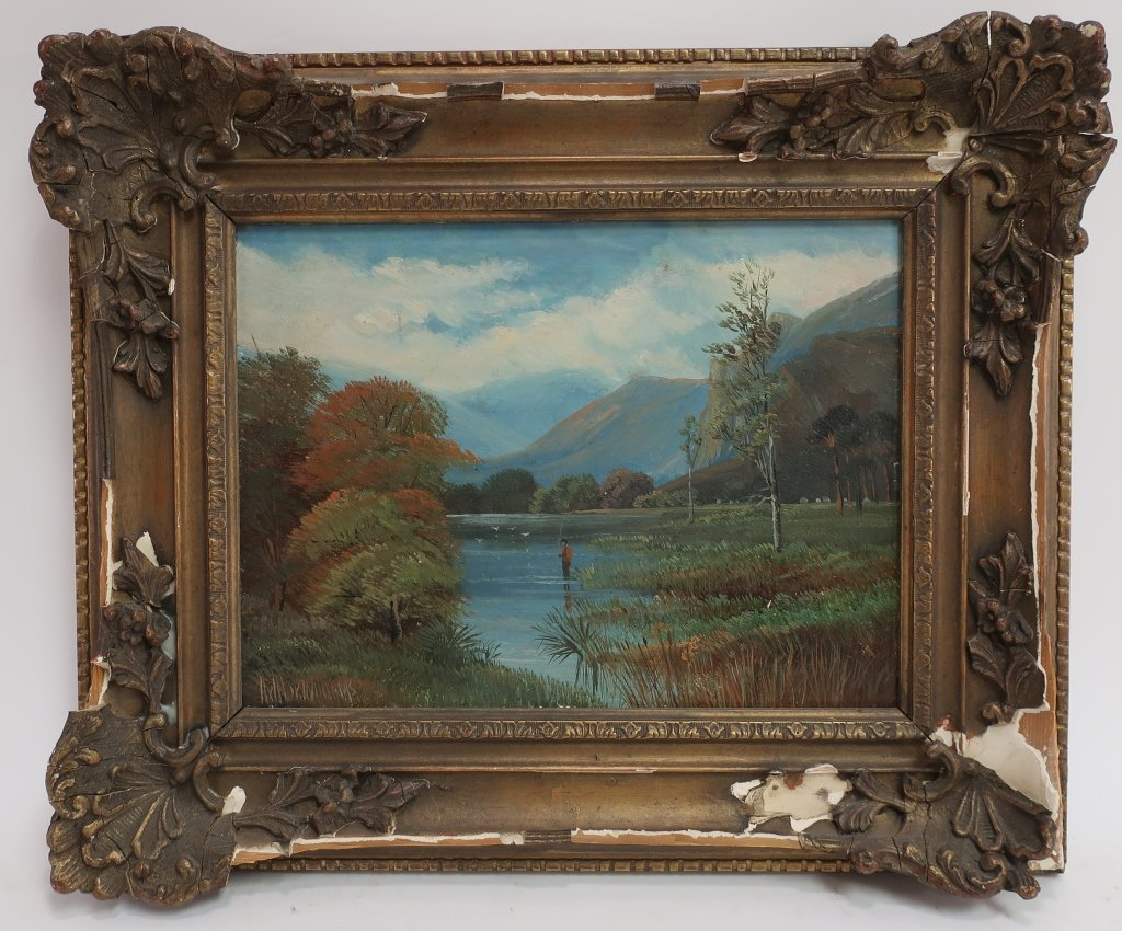 Am. Sch, 20th c., Angler in Lake, O/B