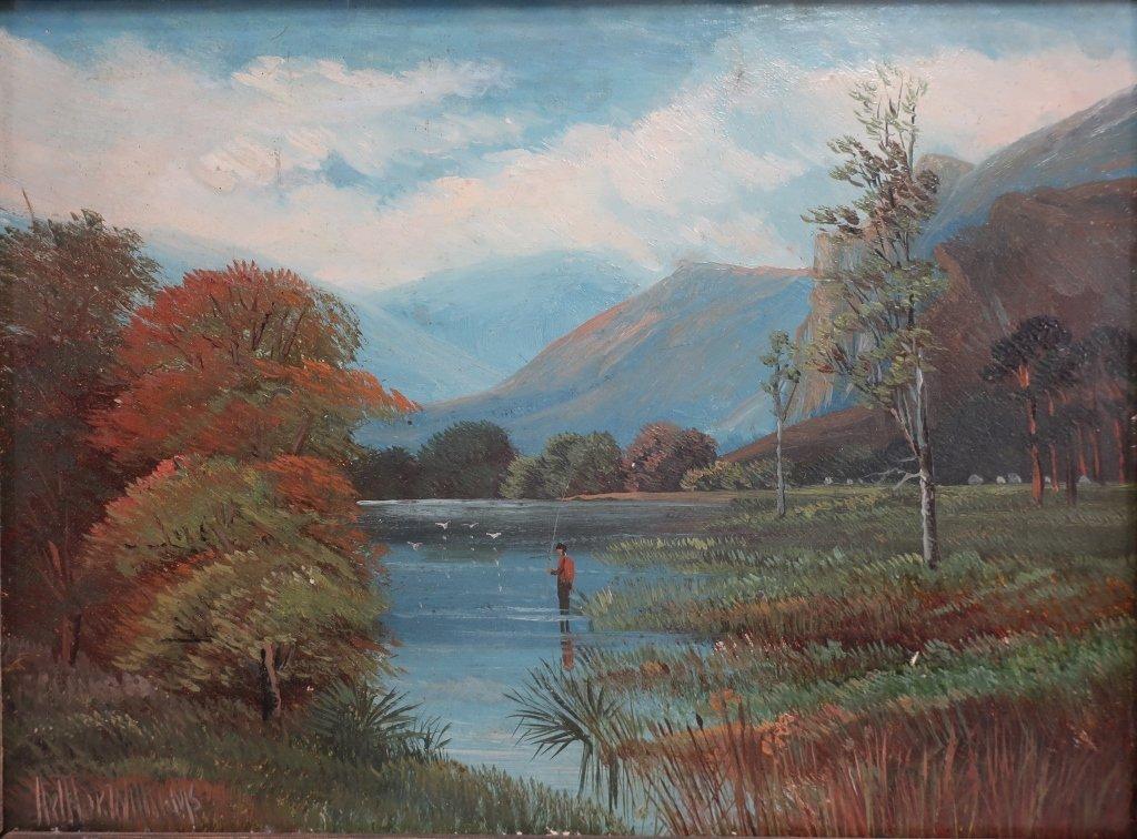 Am. Sch, 20th c., Angler in Lake, O/B - 2