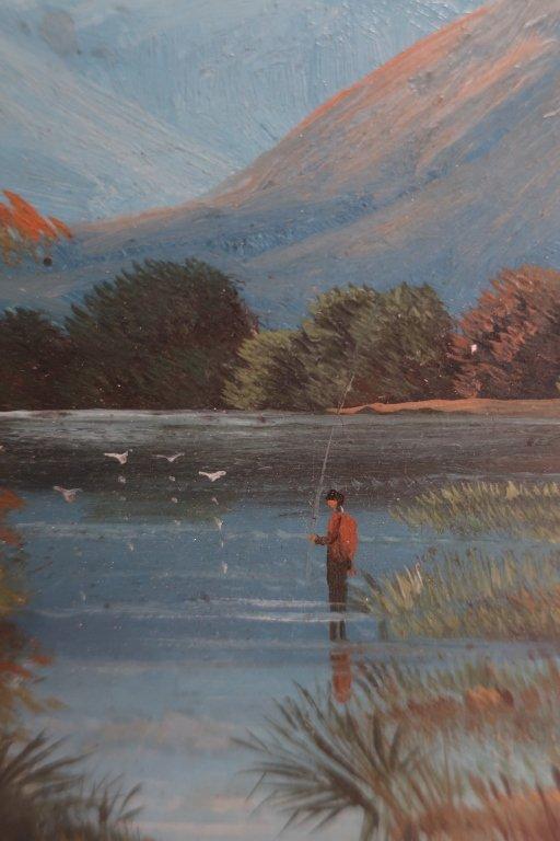 Am. Sch, 20th c., Angler in Lake, O/B - 3
