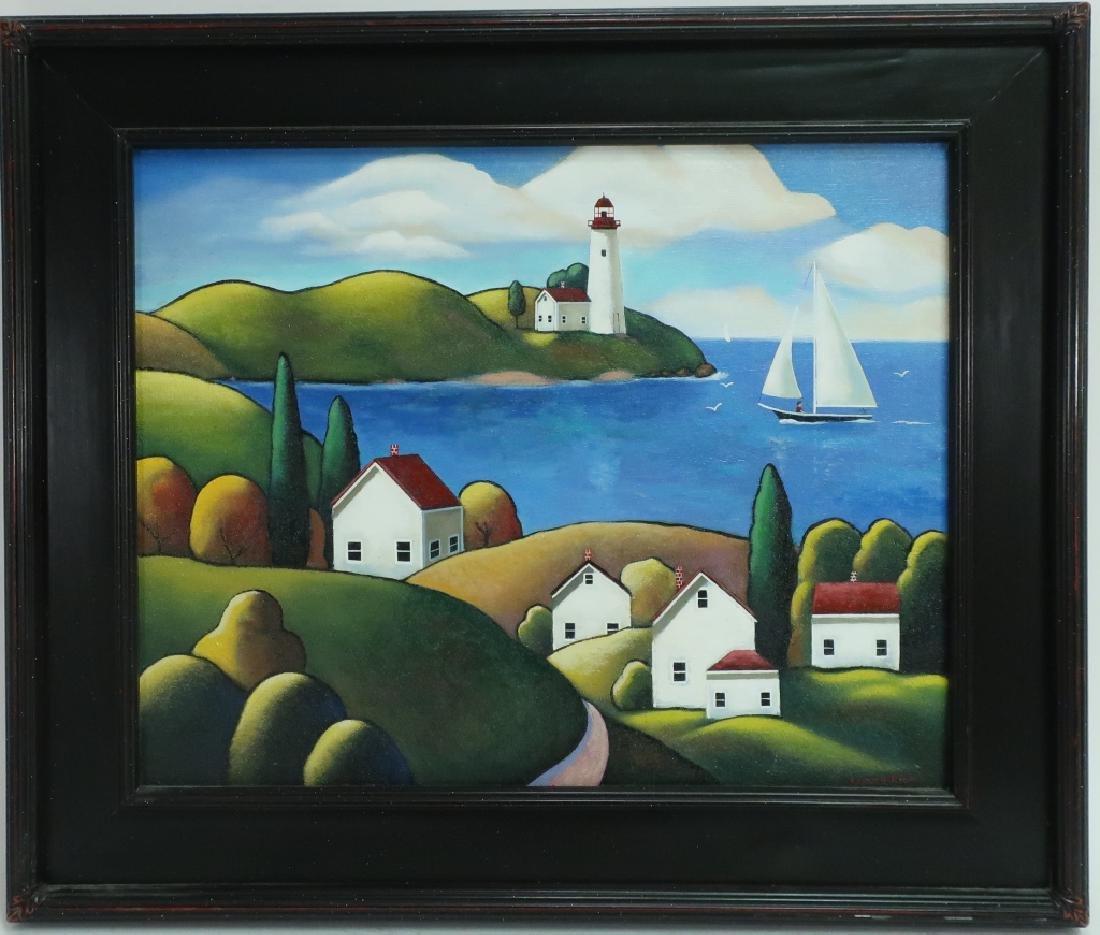 "Steven Kelin, 20th C., ""Peaceful Harbor"" o/c"