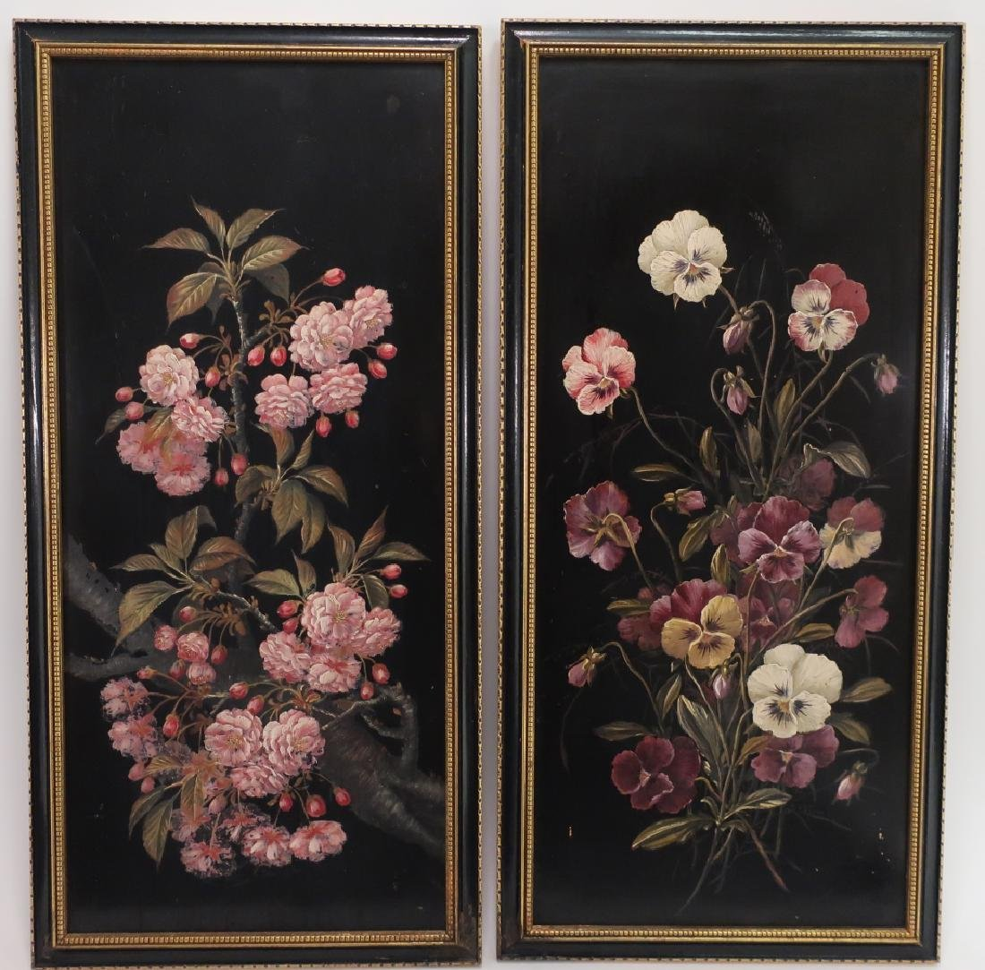 Cont'l Sch, 20th c., Pair of Florals on Boards