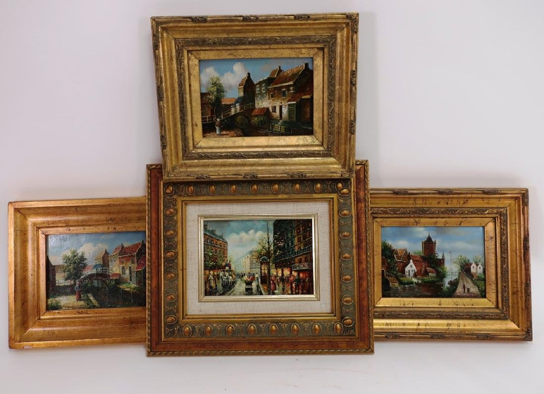 Group of 4 Small Paintings, 20/21st C.
