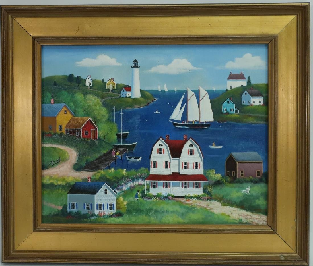 "Steve Klein, 20th C., ""Along the Bay"" o/c"