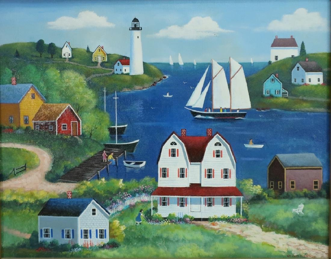 "Steve Klein, 20th C., ""Along the Bay"" o/c - 2"