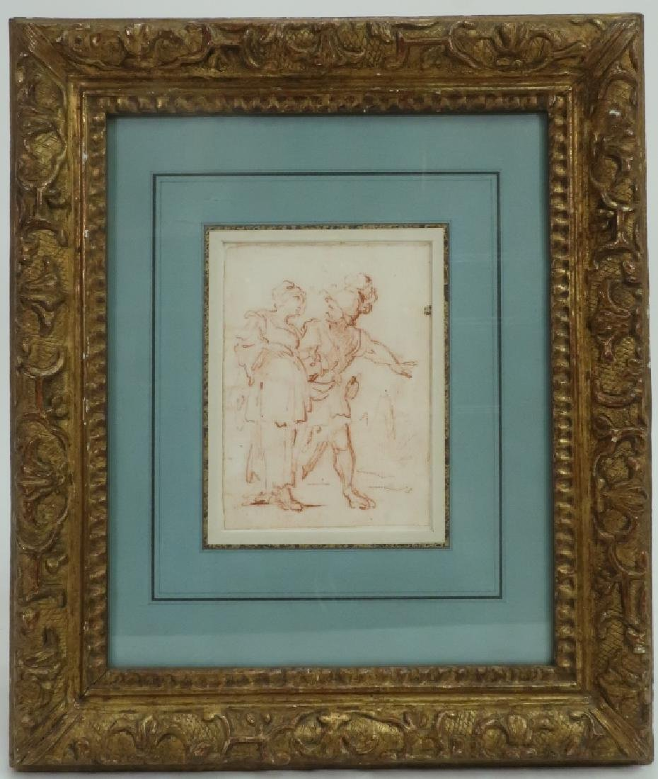 Follower of Salvator Rosa Red Chalk Drawing 17th c