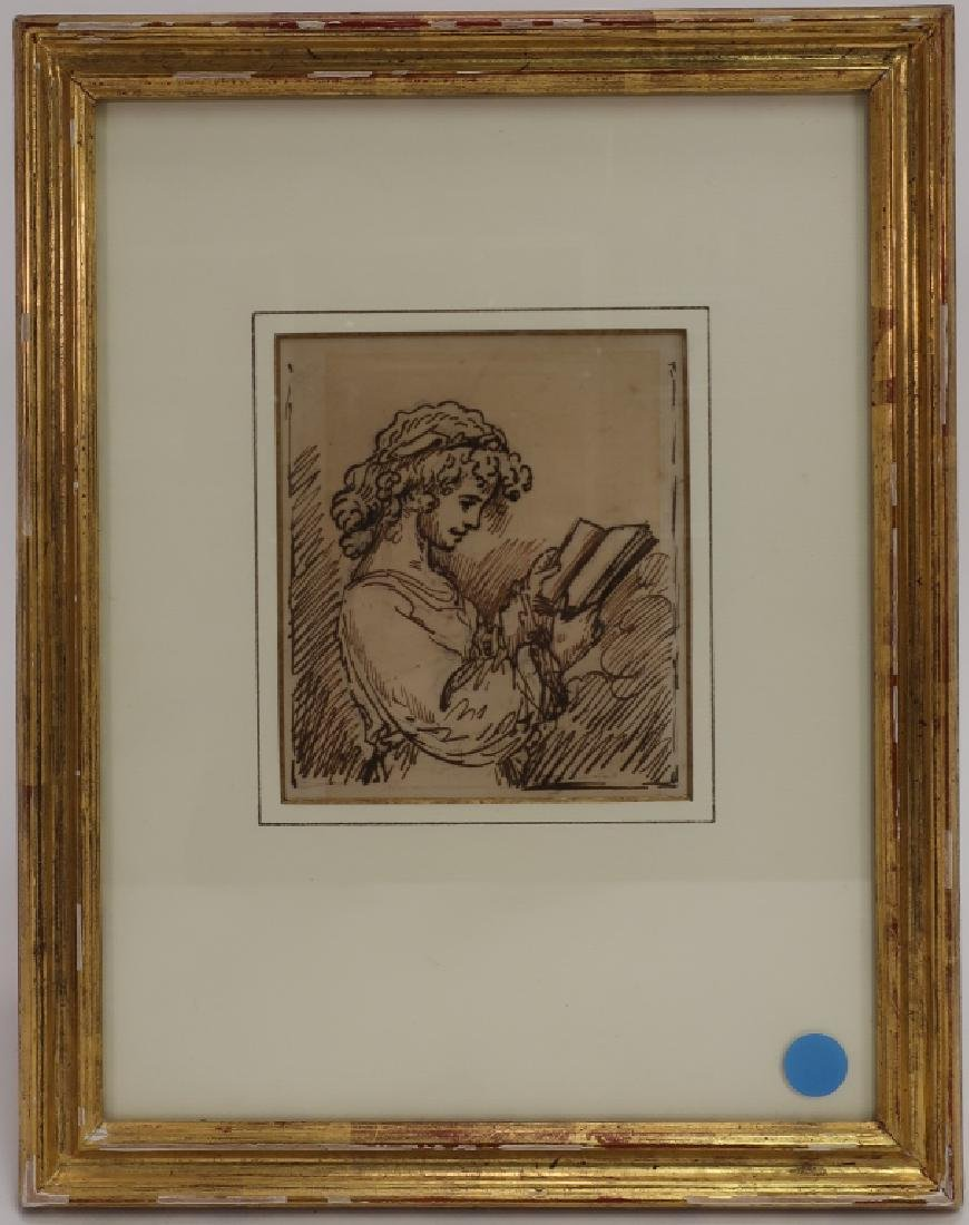 """Benjamin West, Am.,""""A Girl Reading"""",pen and ink"""