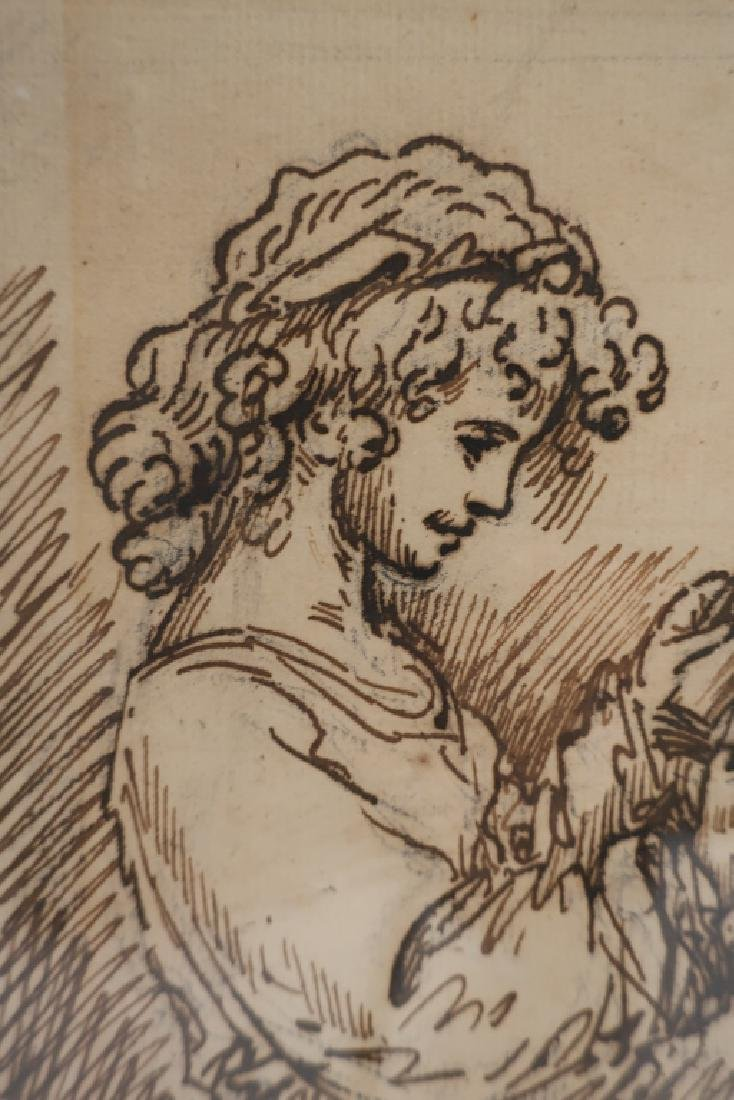 """Benjamin West, Am.,""""A Girl Reading"""",pen and ink - 2"""