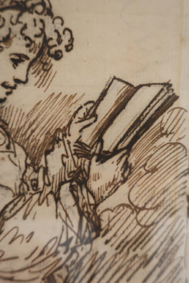 """Benjamin West, Am.,""""A Girl Reading"""",pen and ink - 3"""