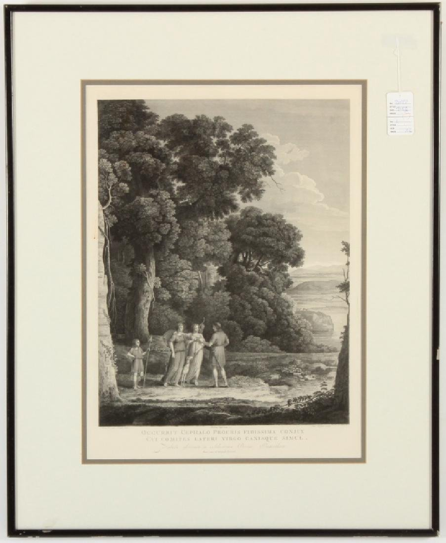 Landscape with Allegorical Scene Engraving 19th c.