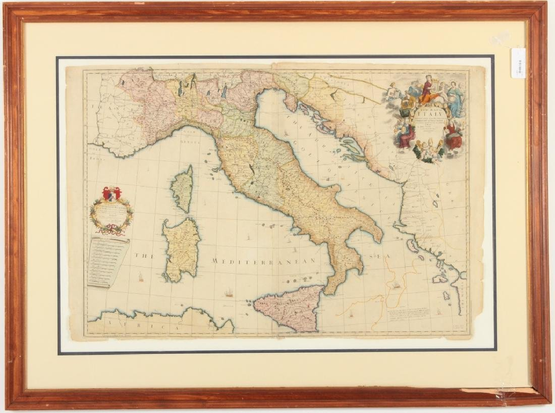 Large Antique Map Italy John Senex Engraving 1708