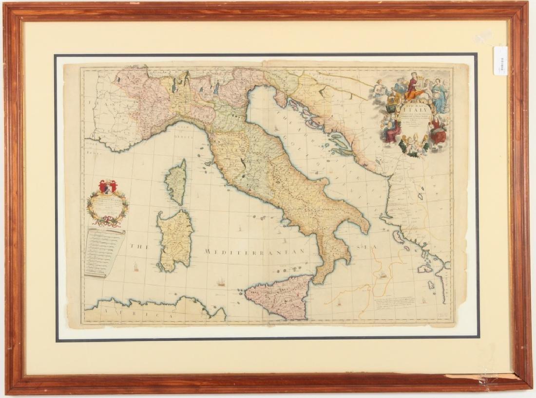 Large Antique Map Italy John Senex Engraving 1708