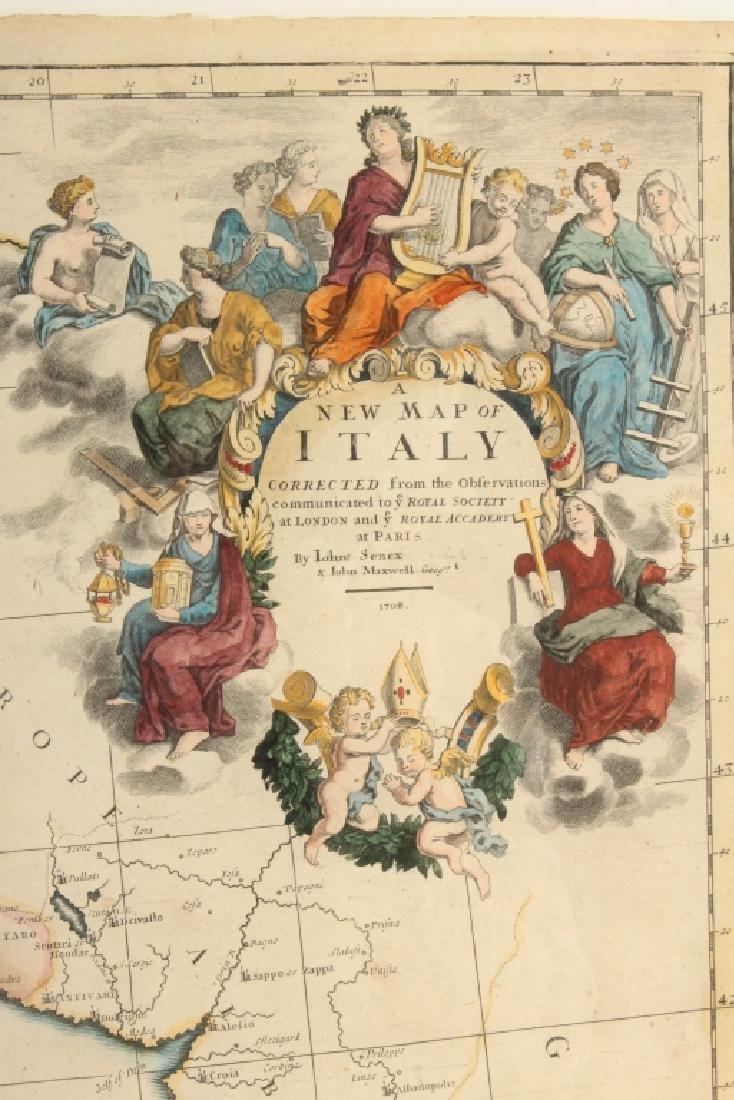 Large Antique Map Italy John Senex Engraving 1708 - 2