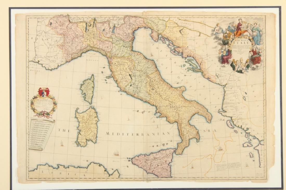 Large Antique Map Italy John Senex Engraving 1708 - 3