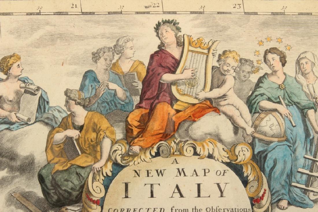 Large Antique Map Italy John Senex Engraving 1708 - 8