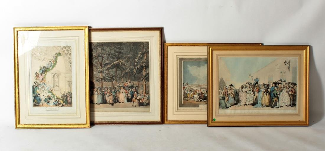 Thomas Rowlandson,4 Hand Colored Etchings