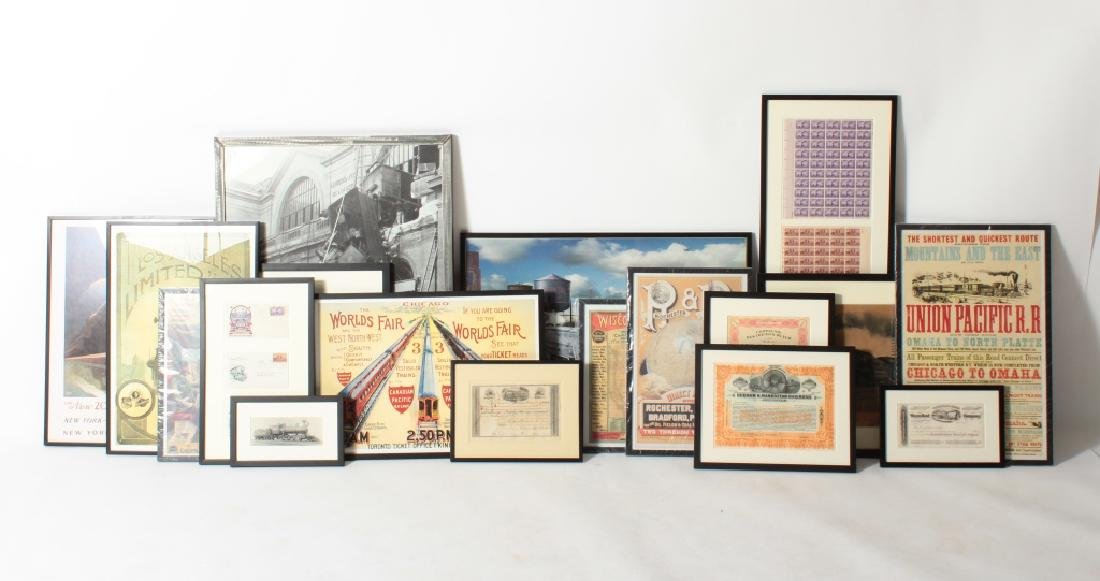 Group of 18 Various Railroad Art Pieces