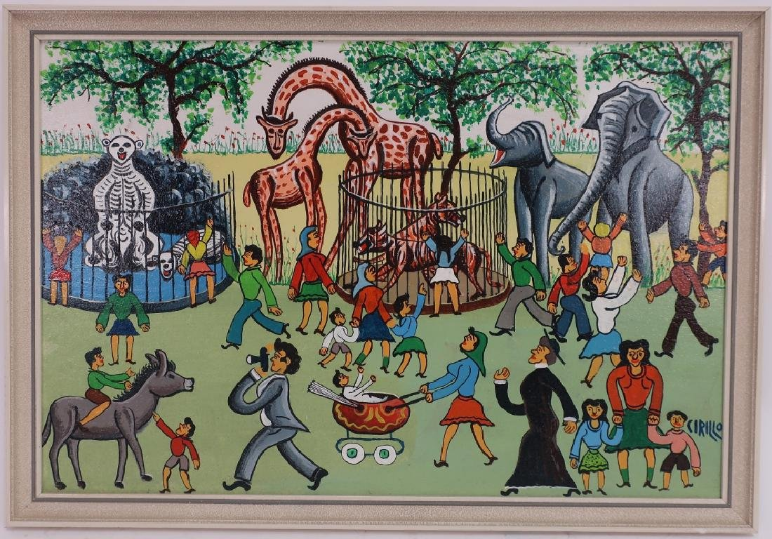 Cirillo, It., Circus Park, 20th C., paint on board