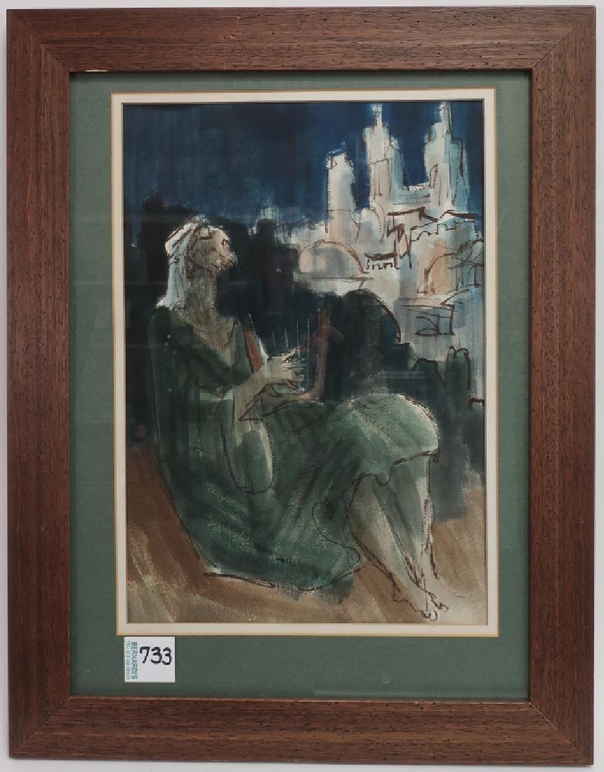 "Ernest Ullman, ""Holy City"", Oil on Paper"