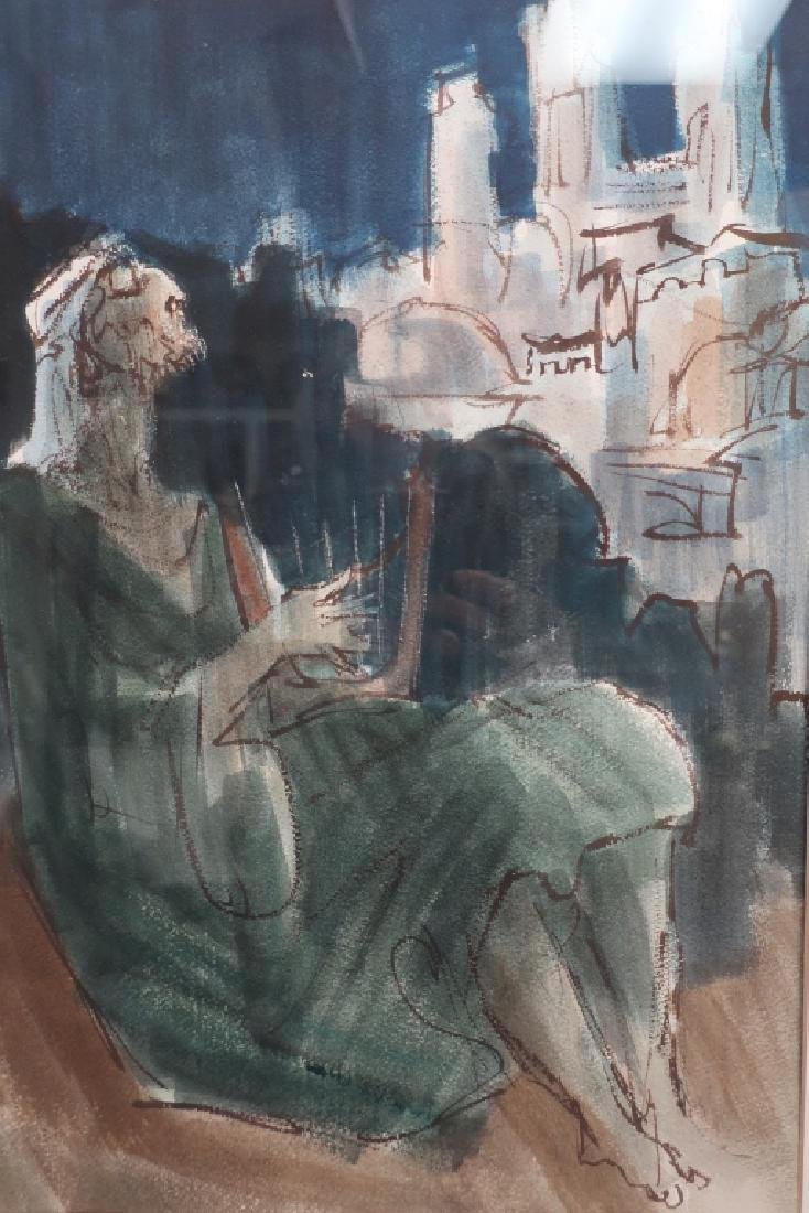 "Ernest Ullman, ""Holy City"", Oil on Paper - 2"