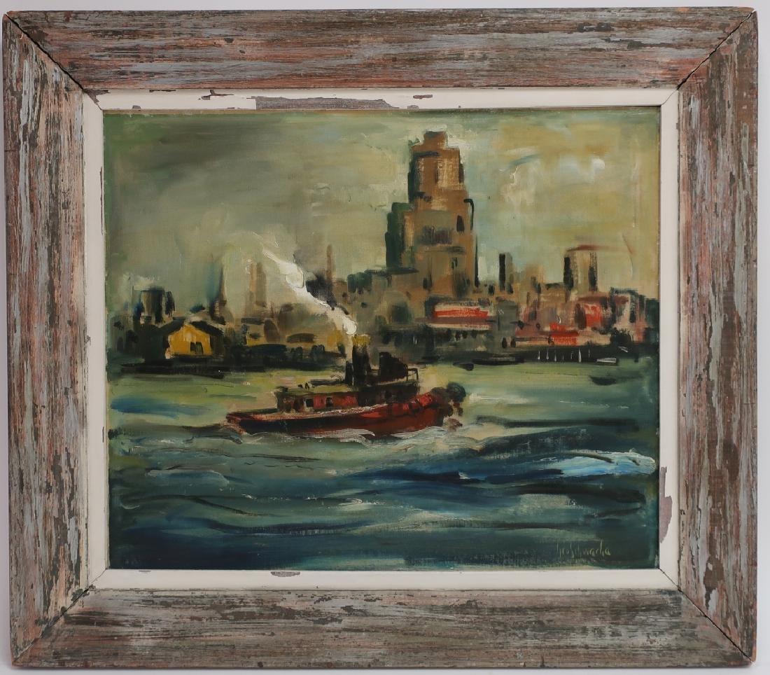 George Schwacha 1908-86 Tugboat in NYC Harbor O/C