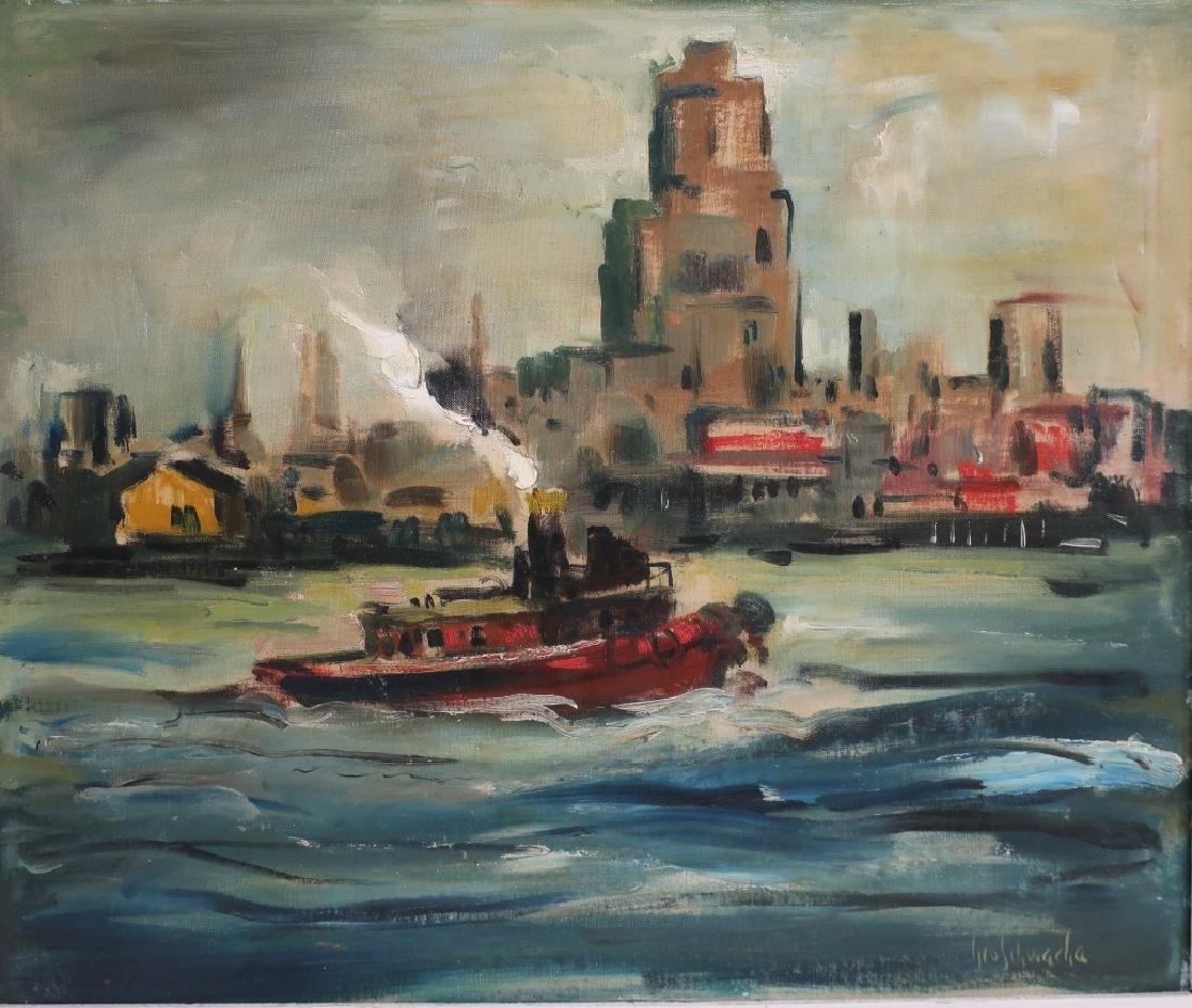 George Schwacha 1908-86 Tugboat in NYC Harbor O/C - 2
