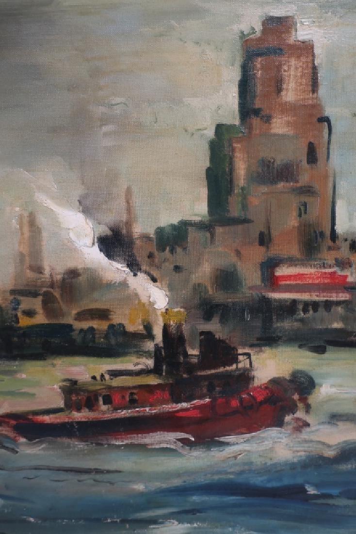 George Schwacha 1908-86 Tugboat in NYC Harbor O/C - 3