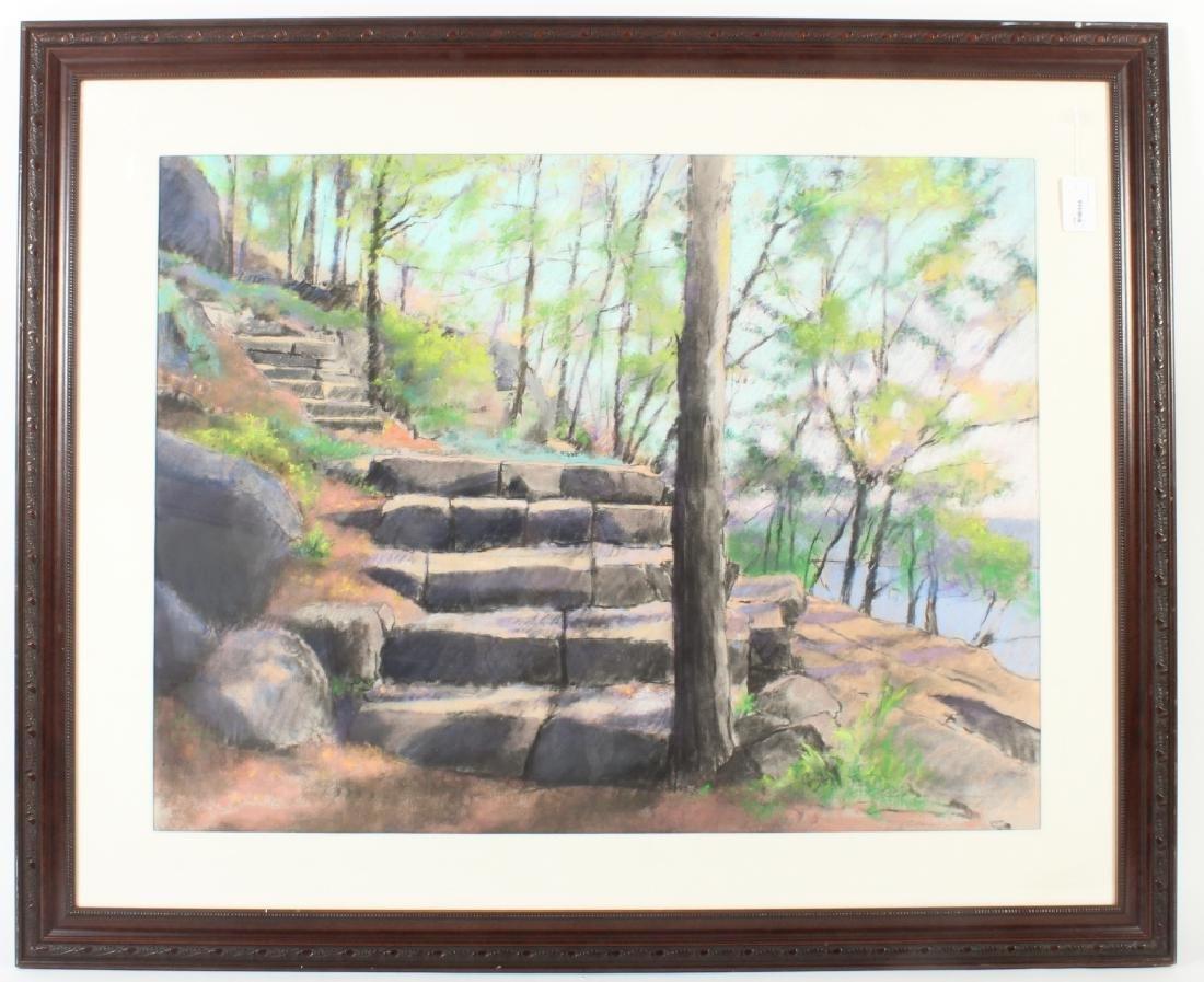 Larry D'Amico Landscape w/ Stone Steps Pastel