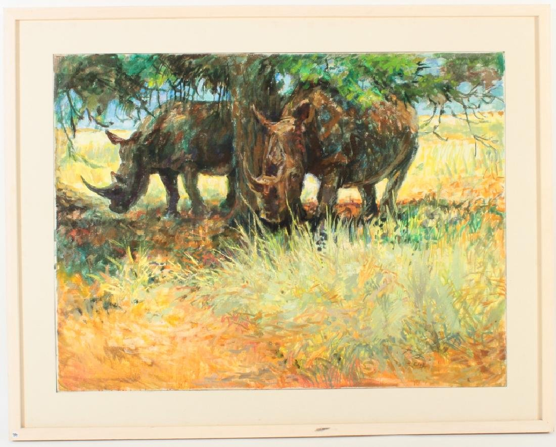Zakkie Eloff, Rhinos, Oil on Canvas, Signed.