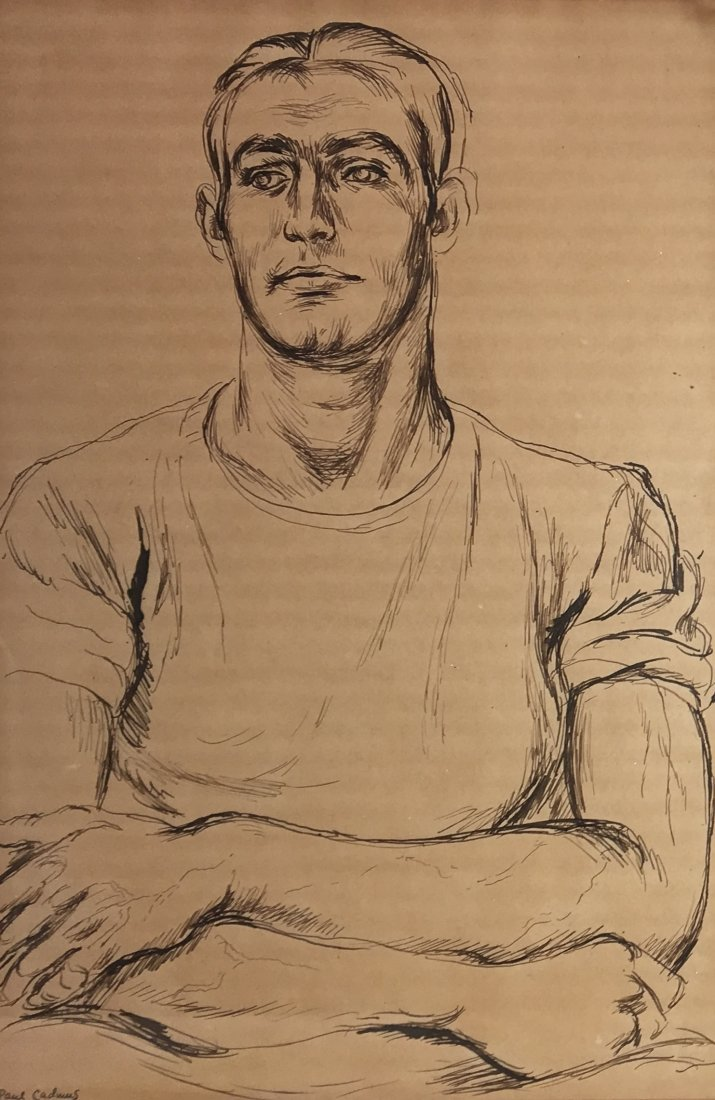 "Paul Cadmus 1904-1999 ""Albert"", Young Man Pen and Ink"