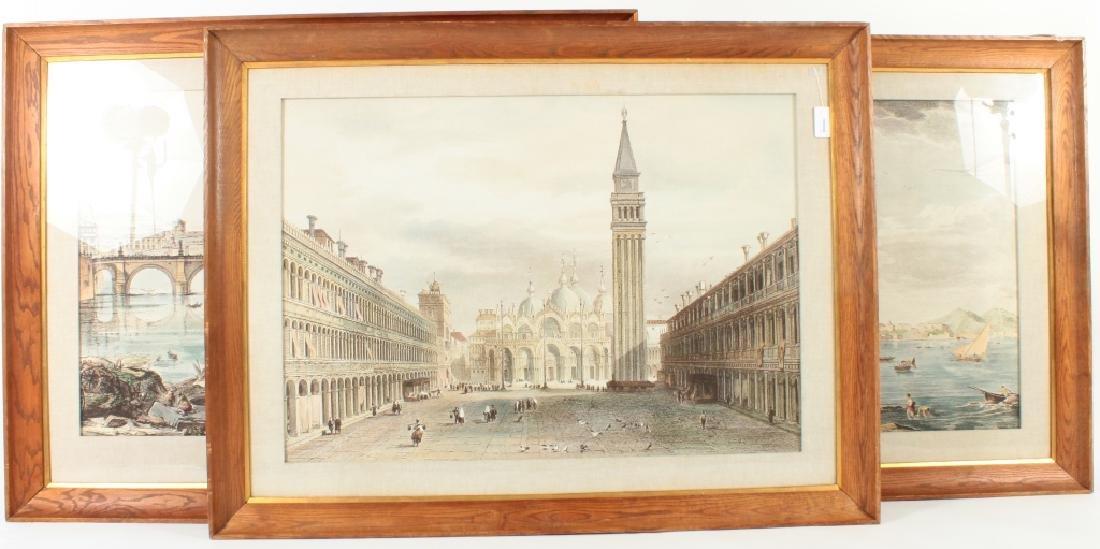 Lot of 3: Large Italian Scenes Printed on Fabric