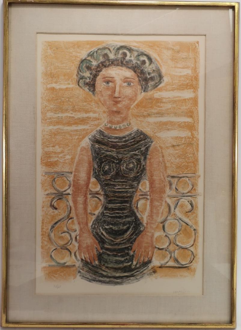 Massimo Campigli, Woman w/ Hat Lithograph 1956