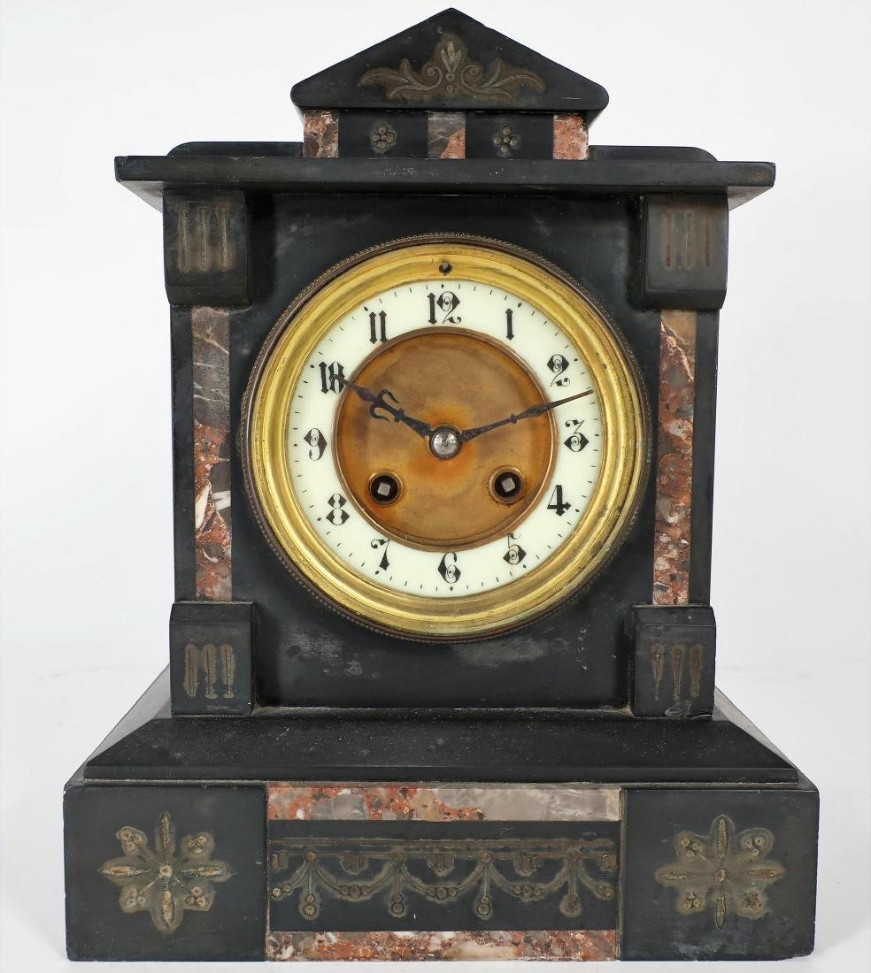 French Japy Freres Black Slate/Marble Mantle Clock