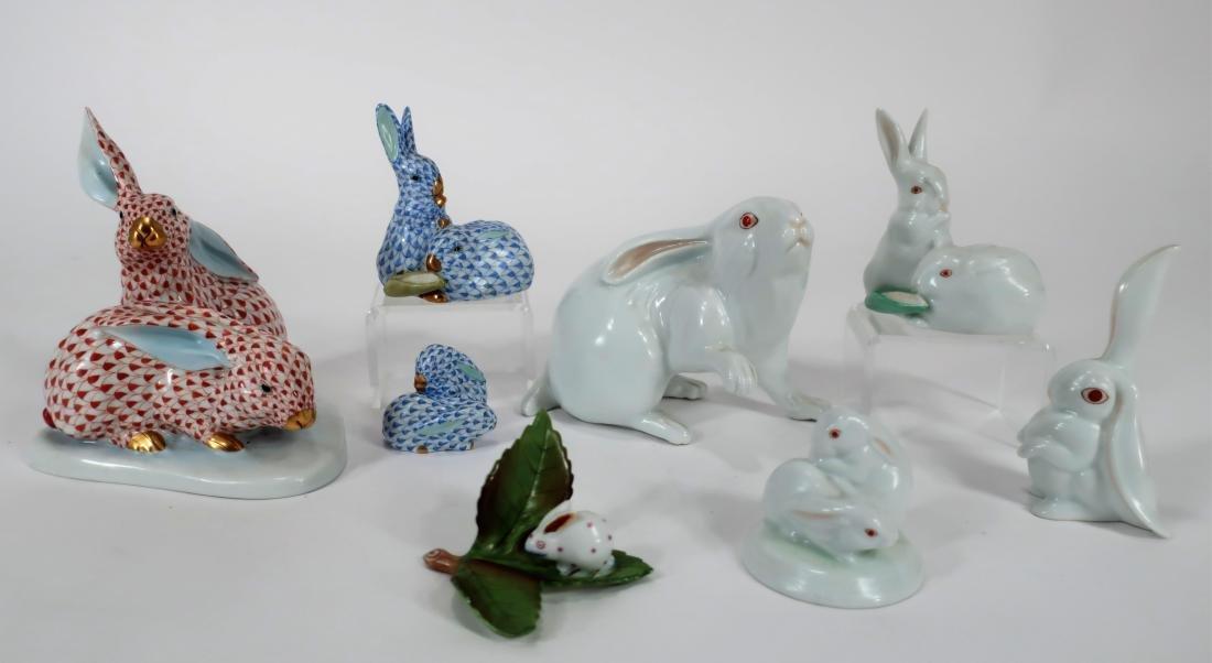 Group of 8 Herend Porcelain Rabbits