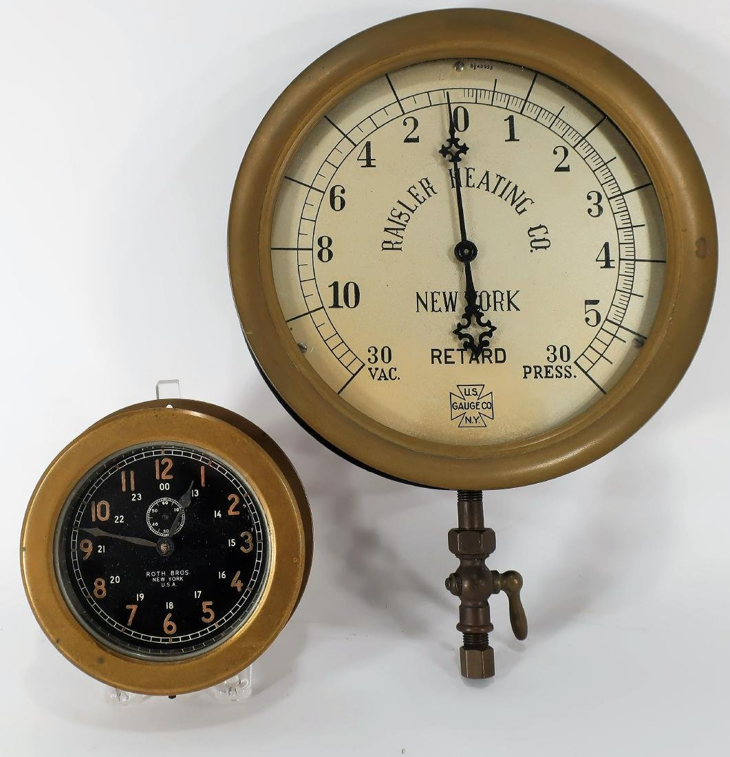 2 Brass Instruments Pressure Gauge & Ships Clock