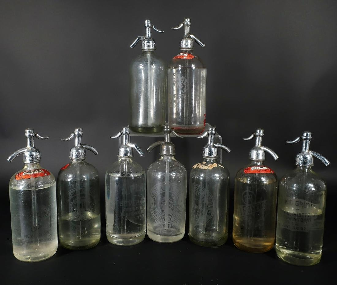 Antique Clear Glass Seltzer Siphons Bottles, NY & PA