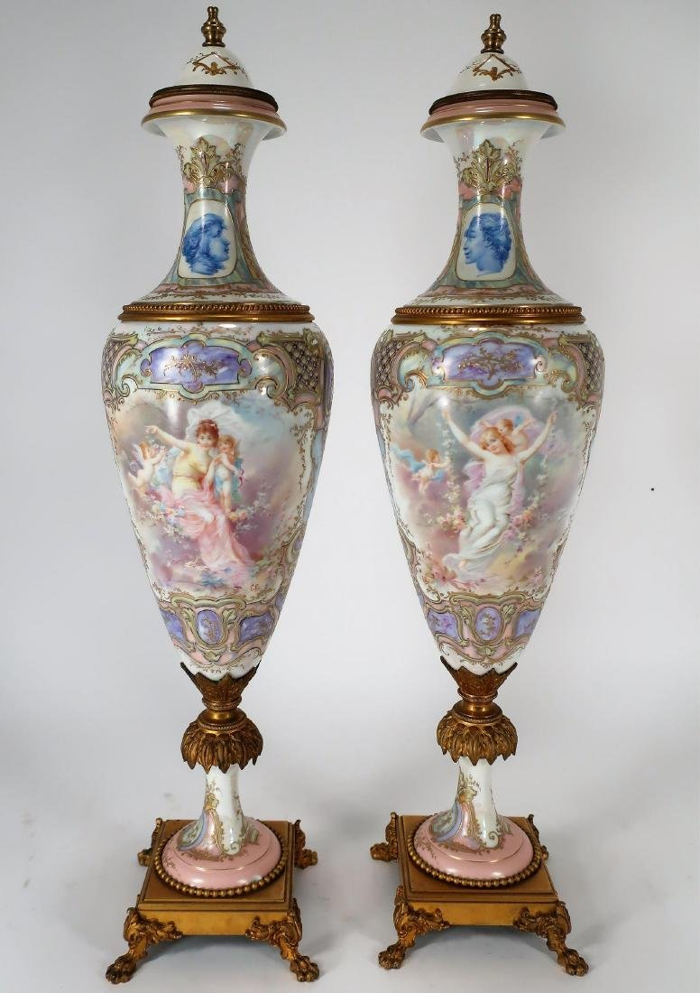 Pair of Hand-Painted Large Urns