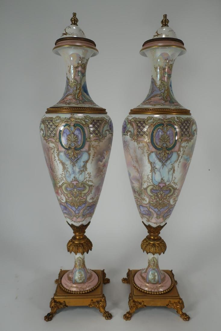 Pair of Hand-Painted Large Urns - 2