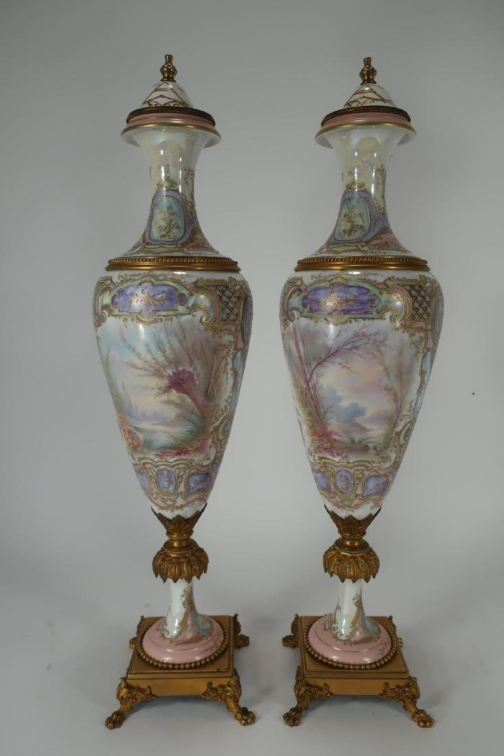 Pair of Hand-Painted Large Urns - 3