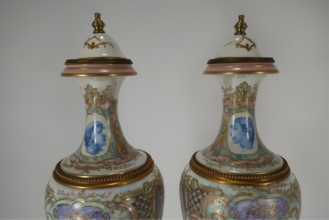 Pair of Hand-Painted Large Urns - 4
