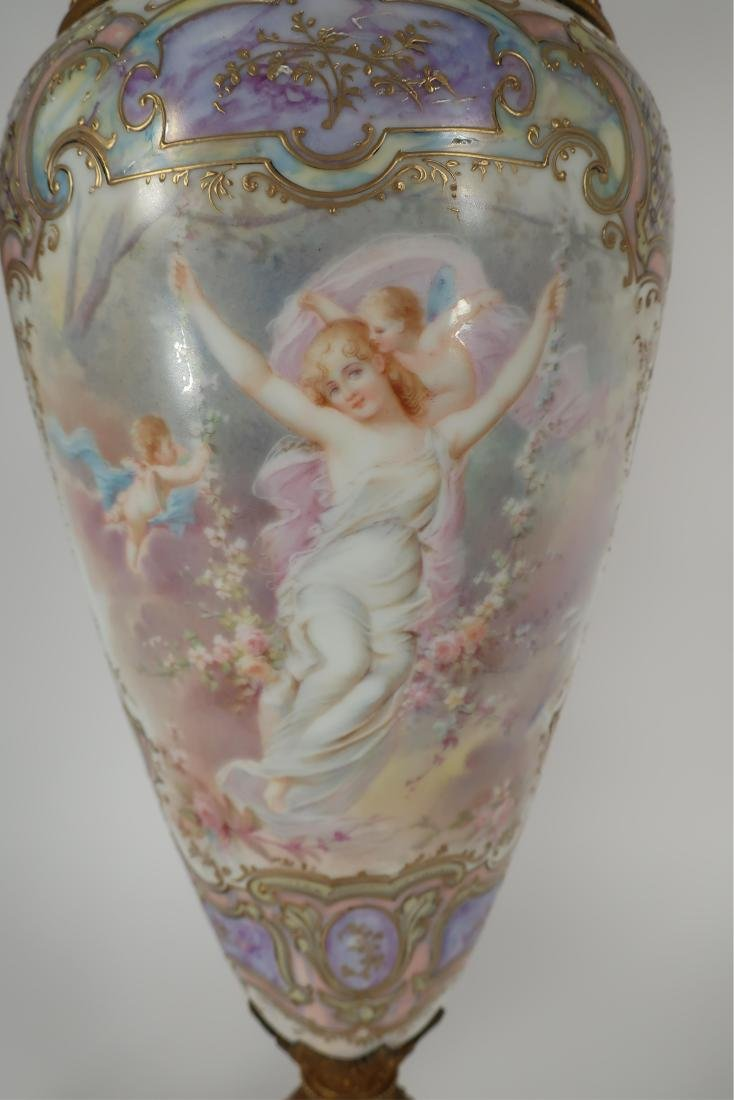 Pair of Hand-Painted Large Urns - 5