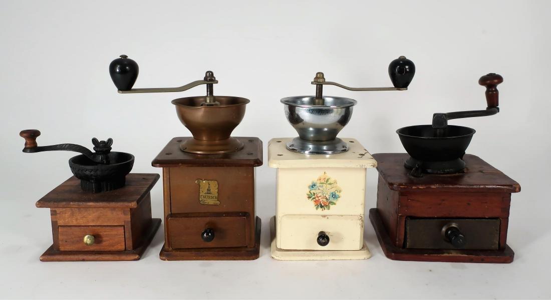 4 Open Top Antique Coffee Mills