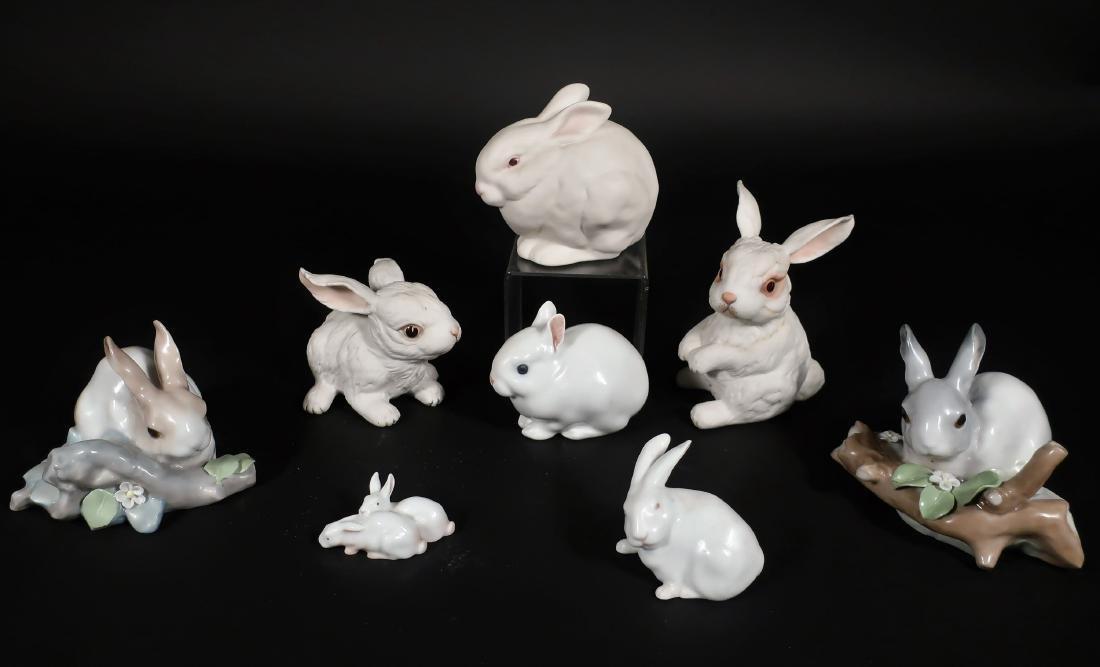 8 Porcelain Rabbits: Boehm,Royal Copenhagen, et al